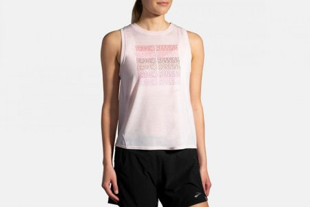 Tops | Canotta Distance Graphic -Nuovi arrivi Rosewater/Brooks Running | Brooks Donna