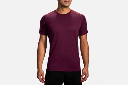 Tops | Distance Short Sleeve -Maglie da corsa Heather Sangria/Heather Merlot | Brooks Uomo