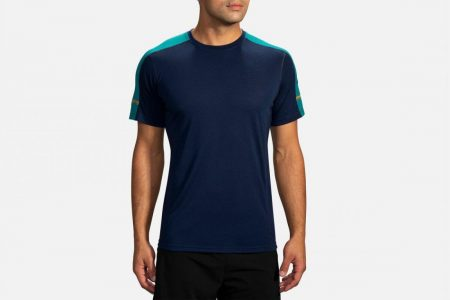 Tops | Distance Short Sleeve -Maglie da corsa Navy/Spruce | Brooks Uomo
