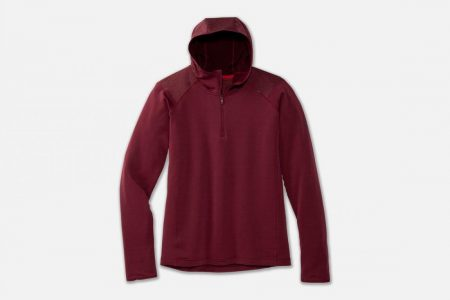 Tops | Notch Thermal Hoodie -Maglie da corsa Merlot/Heather Merlot | Brooks Uomo