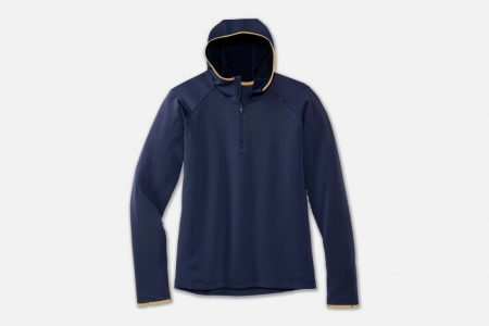 Tops | Notch Thermal Hoodie -Maglie da corsa Navy/Desert | Brooks Uomo