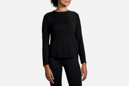 Tops | Spirit Long Sleeve -Maglie da corsa Black Jacquard/Black | Brooks Donna